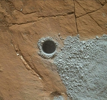 Hole drilled by Curiosity Rover on Mars