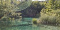 Holiday in Croatia Plitvice Lakes in the late afternoon  x