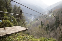 Homemade aerial tramway in Apuan Alps Italy