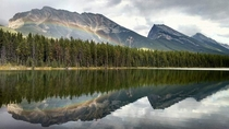 Honeymoon Lake in Alberta Canada  Sorry for the low resolution my original file has disappeared
