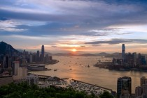 Hong Kong awakening in Sunset