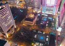 Hong Kong peaceful protests at night