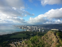 Honolulu amp Waikiki Hawaii from a different view Taken on top of Diamond Head Volcano Reference picture in comments