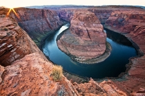Horseshoe Bend at the brink of sunset - Page Arizona