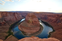 Horseshoe Bend in Page AZ near sunset - also one of the most confusing time zones