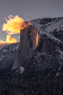 Horsetail Fall at sunset becoming the illustrious Firefall Yosemite National Park