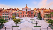 Hospital de Sant Pau in Barcelona Catalonia Spain was built between - The art nouveau site and UNESCO World Heritage Site comprises an architectural complex of  pavilions set in green space interconnected by underground galleries It was a fully functional