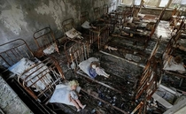 Hospital which was abandoned Chernobyl nuclear accident