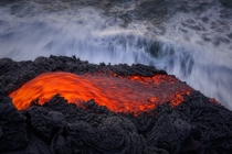 Hot lava action in Hawaii Volcano National Park by Tom Kualii