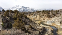 Hot Springs near Mammoth Lakes CA with the Sierra Nevadas  OC