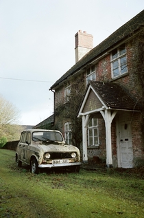 House and car left to rot in UK countryside