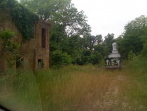 House and church in abandoned town