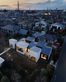 House divided into segments similar to a Hopscotch court each with their own function in Saitama Japan by Hiramoto Design Studio