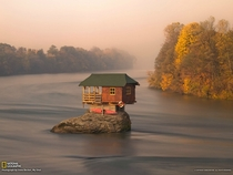 House in the middle of the Drina Rover Serbia