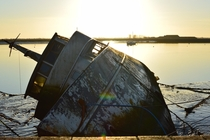 Houseboat at Burnham Quay River Crouch Essex It capsized in March  and has been left abandoned ever since Photo taken by me on th December
