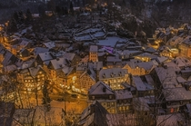 Houses cuddled together in Monschau Germany