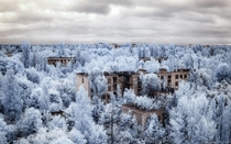 Housing blocks near the Chernobyl disaster site