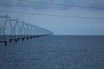 How the power lines at Lake Pontchartrain Louisiana USA simply and clearly show the curvature of the Earth