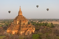 Htilo Minlo temple lighted with golden sunrise light Bagan Myanmar