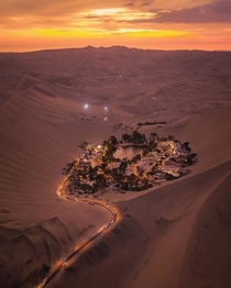 Huacachina a city in Peru built around an oasis in the desert