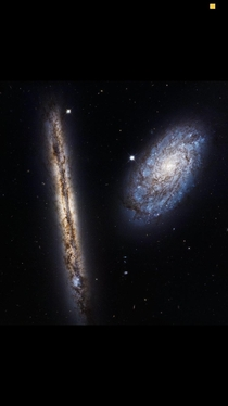Hubble picture of two galaxys close to colliding