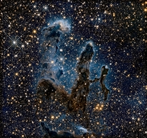Hubbles Pillars of Creation in near infrared Its almost ghostly