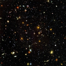 HUDF Sept The over  objects visible are either galaxies or proto-galaxies the furthest of which were seeing as they were  billion years ago And all of which take up less space in the night sky than a mm x mm square held m away from you  of the total sky