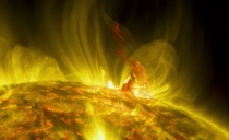 Huge arching eruption on suns surface Source Nasa  June