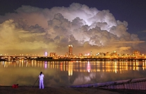 Huge clouds billow over New Taipei City Taiwan at night Photographer unknown  x