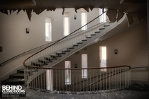 Huge stunning spiral staircase falling into decay in an abandoned hospital in Gosport UK