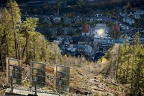 Huge sun mirrors Solspeilet set up on the hillside above Rjukan Norway to reflect sunlight down on the town square to bring natural light to their remote village enveloped in darkness for half the year