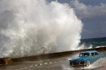 Huge wave crashing into Havana Cuba