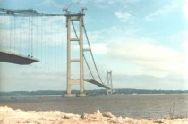 Humber Bridge England under construction in  Architect Bernard Wex Formerly the longest single-span suspension bridge in the world