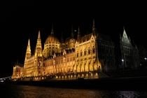 Hungarian Parliament Building at night from the Danube
