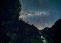 Hunua Falls under the Milky Way in New Zealand