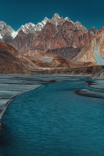 Hunza river flowing in front of Passu Cones upper Hunza Pakistan  ig usman_zubair