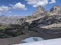 Hurricane Pass Grand Tetons National Park Grand Teton and Middle Teton with the Schoolroom Glacier at the bottom