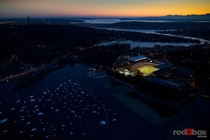 Husky Stadium with Downtown Seattle in the distance
