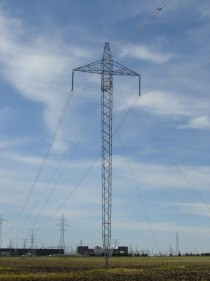HVDC transmission tower near the Dorsey substation Rosser Manitoba