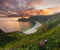 Hyvika Beach on Andya Vesterlen in Northern Norway  photo by Stian Klo