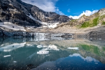 I call this picture mirrored opposites because it represents the contrasting seasons of summer amp winter and the scenery is beautifully reflected in the glacier lake Swiss Alps