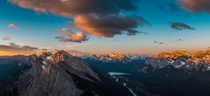 I camped on top of Mount Rundle top photo yesterday to capture this sunrise over Kananaskis Alberta Canada
