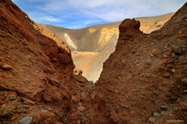 I climbed around the slot canyons inside Ubehebe Crater in Death Valley CA recently What a cool place