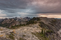 I climbed Table Mountain at sunset to get this photo of Mount Baker in the North Cascades