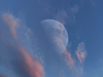 I combined around  to create this  Megapixel picture of the moon while the sun was setting