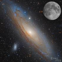 I combined my image of the Andromeda Galaxy and the moon to show just how large they are in the night sky