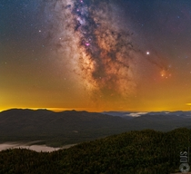 I completed a moderate hike in the Adirondacks NY and stayed warm as I captured this pano of the Milky Way sweeping across the sky throughout the night