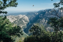 I cycled the Verdon Gorge France last week as part of a  week tour This is from one of the bigger climbs with a bonus Vulture in the shot