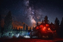 I do Galaxy photo sessions with peoples Jeeps here in Idaho This was from   stacked sky exposures with light painting and vehicle light exposures composited together
