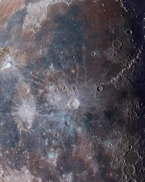 I enhance my closeup moon images and it reveal a variety of color on the lunar surface  process detail in the comment